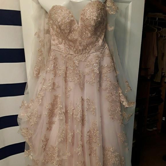 Oleg Cassini Dresses Blush Rose Gold Wedding Dress Poshmark